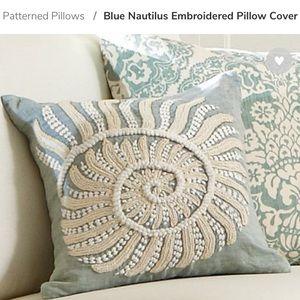 Blue Nautilus Embroidered Pillow Case